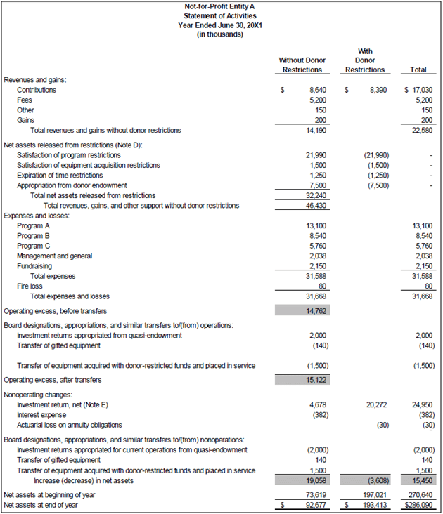 Income Statement Sample For Non Profit Organizations And Statement Of Activities Template Excel