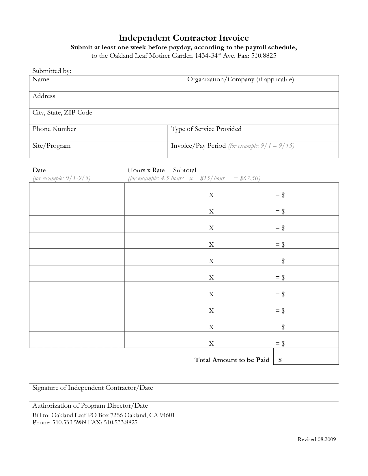 Independent Contractor Invoice Template Free And Contractor Invoice Template Free Pdf