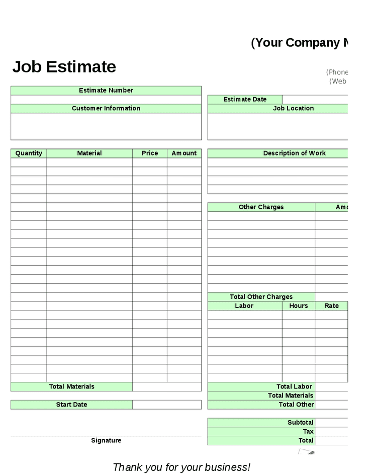 Lawn Maintenance Estimate Forms And Landscaping Estimate Form Free Download