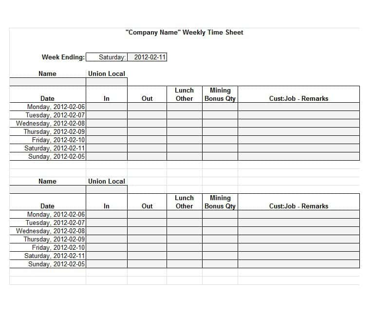 Sample Time Sheets Template And Sample Time Sheet Report