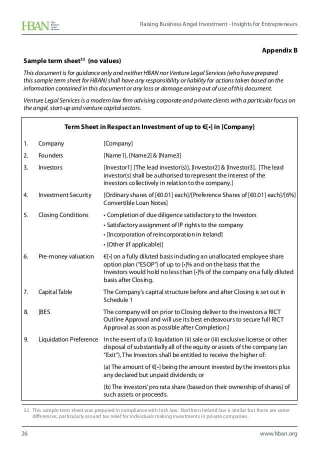 Term Sheet Template For Angel Investment And Contract Term Sheet Template