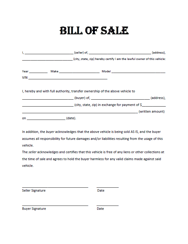 Vehicle Bill Of Sale Template With Notary And Blank Bill Of Sale Form For Vehicle
