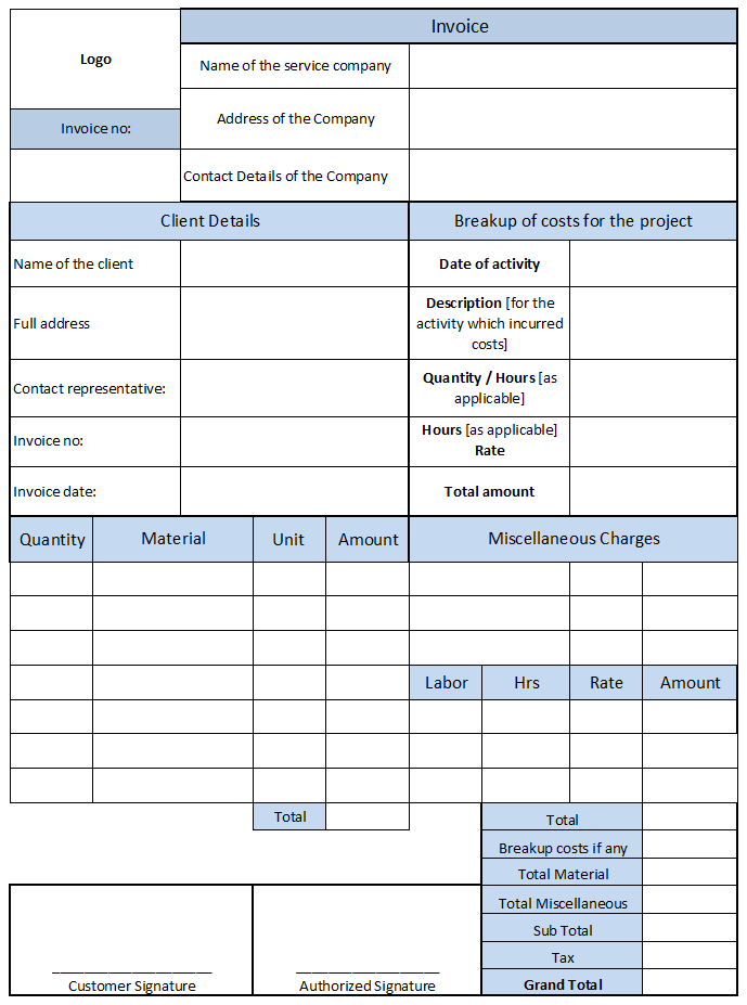 Work Invoice Template Free And Job Work Invoice Format In Excel Download