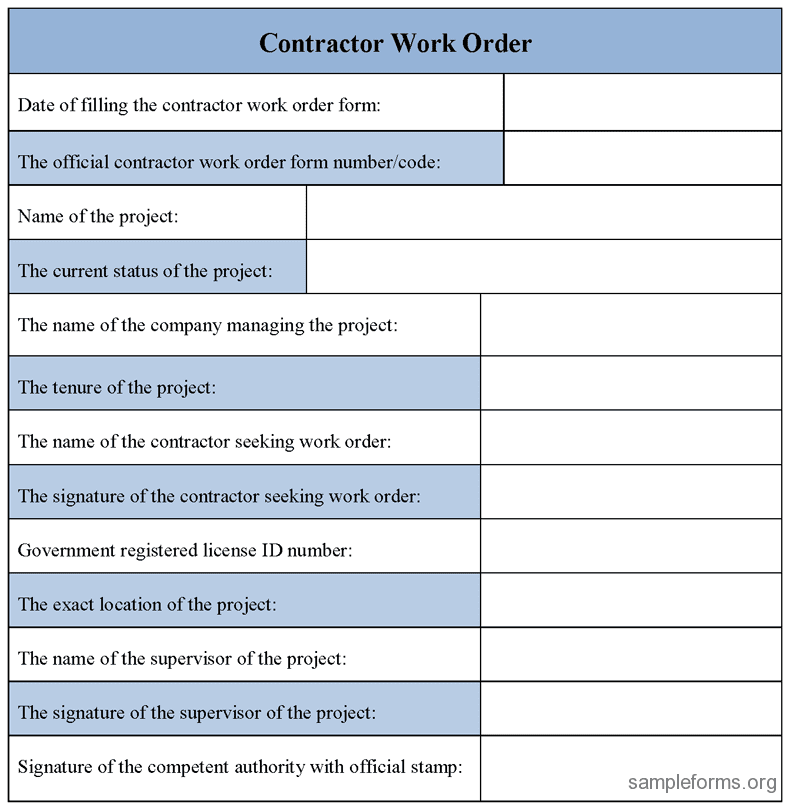 Work Order Excel Template Free And Free Printable Work Order Template