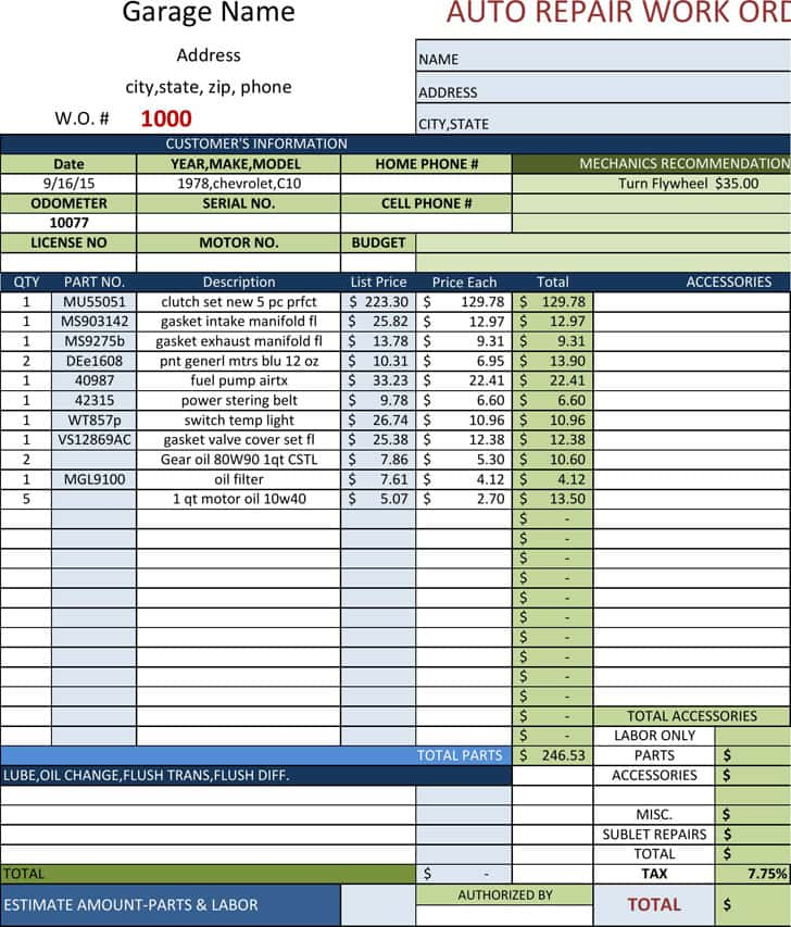 Auto Repair Invoice Software Free Download And Auto Repair Work Order Forms
