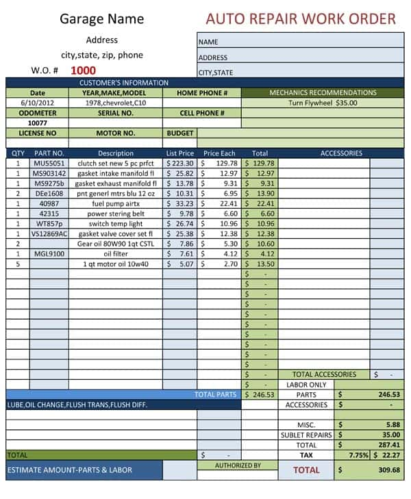 Auto Repair Invoice Template Pdf And Repair Order Template Free