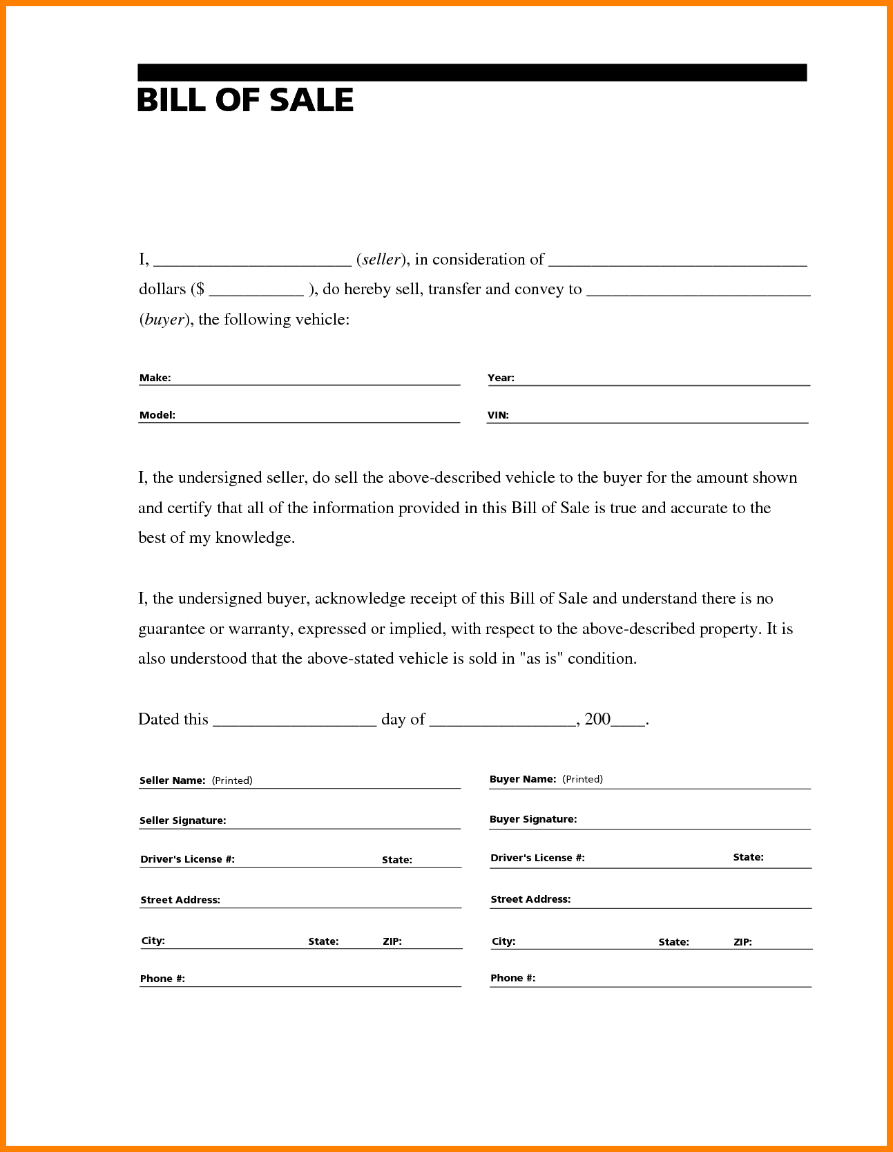 Automobile Bill Of Sale Template Louisiana And Vehicle Bill Of Sale Template Fillable Pdf