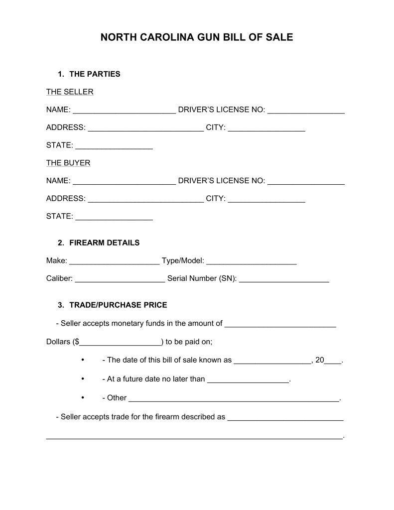 Bill Of Sale Form For Gun In Texas And Gun Bill Of Sale Template Texas