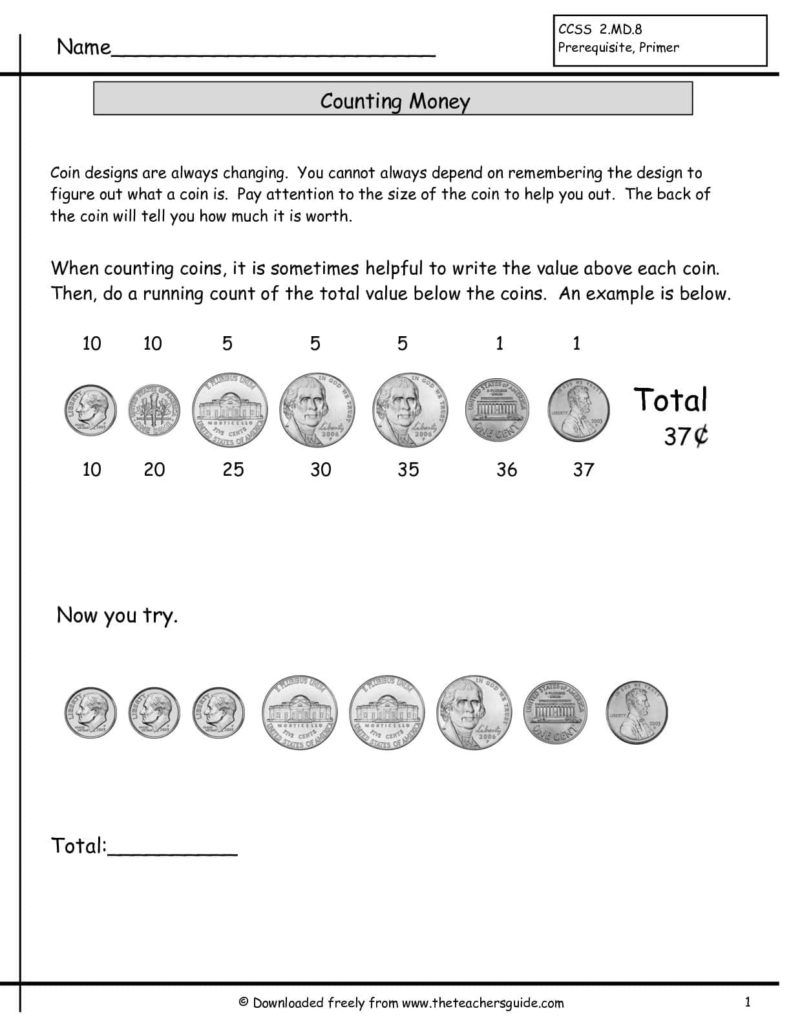 Coin Value Worksheets For Kindergarten And Counting Money Worksheets Pdf