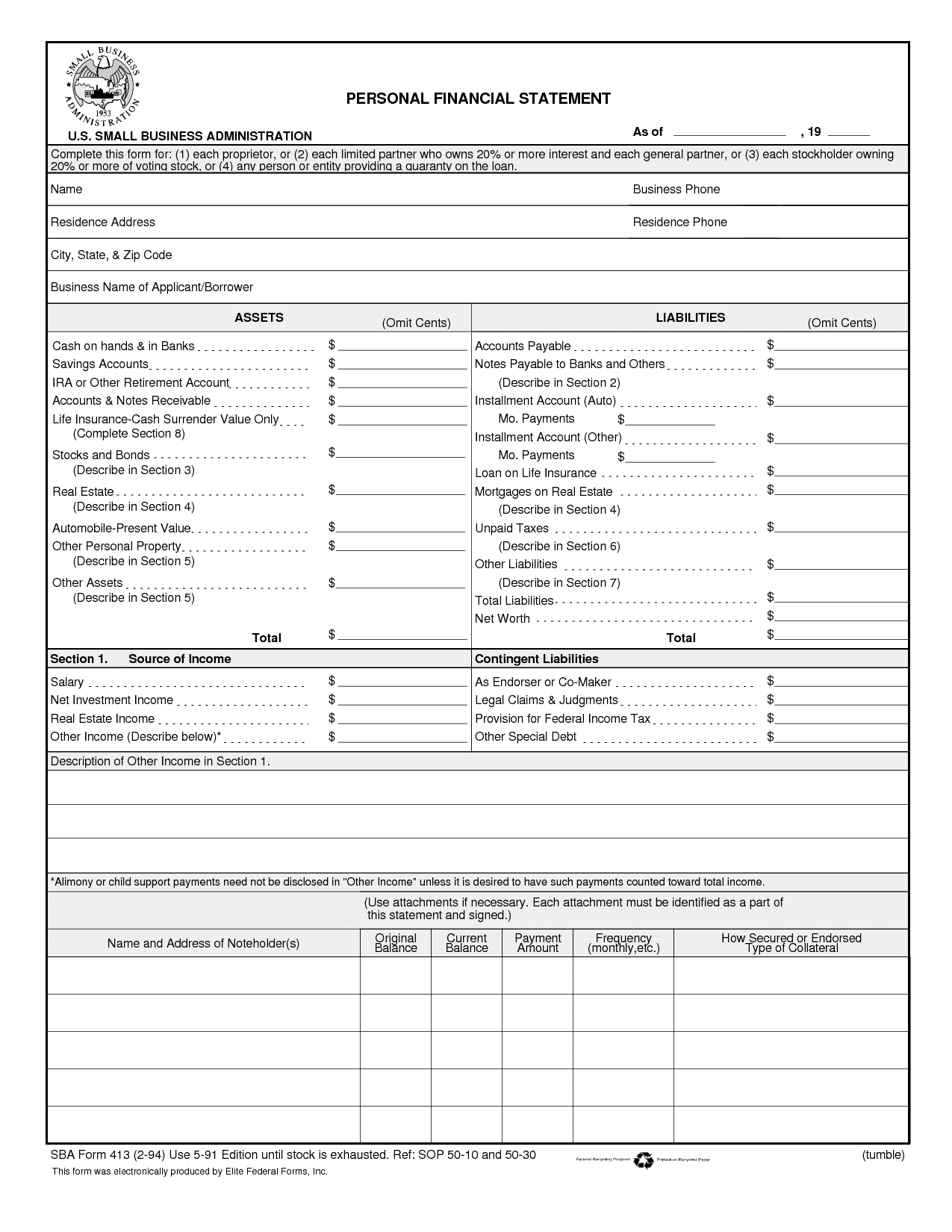 Corporate Financial Statement Form And Financial Statement Template Real Estate
