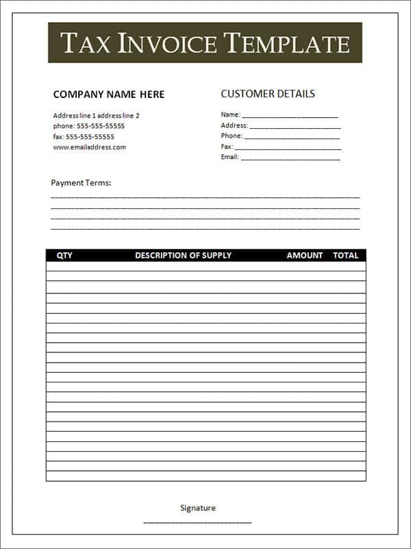 Downloadable Invoice Template Free And Downloadable Receipt Template Free