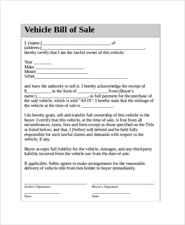 Equipment Bill Of Sale Template Florida And Restaurant Equipment Bill Of Sale