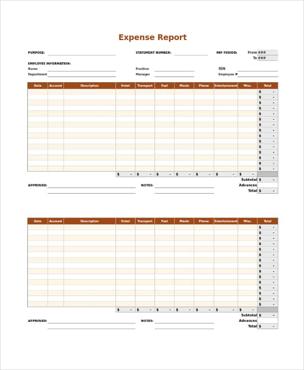 Example Of Expense Report Form And Sample Expense Report Word