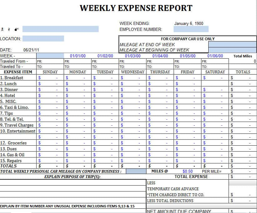 Free Excel Template For Tax Expenses And Travel Expense Report Template
