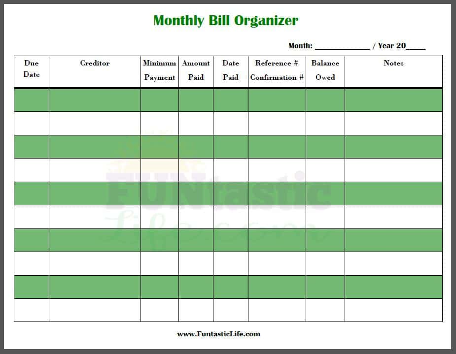 Free Printable Monthly Bill Organizer Template And Free Monthly Budget Template