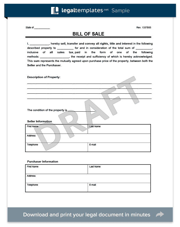 General Bill Of Sale Template Word And Bill Of Sale Template