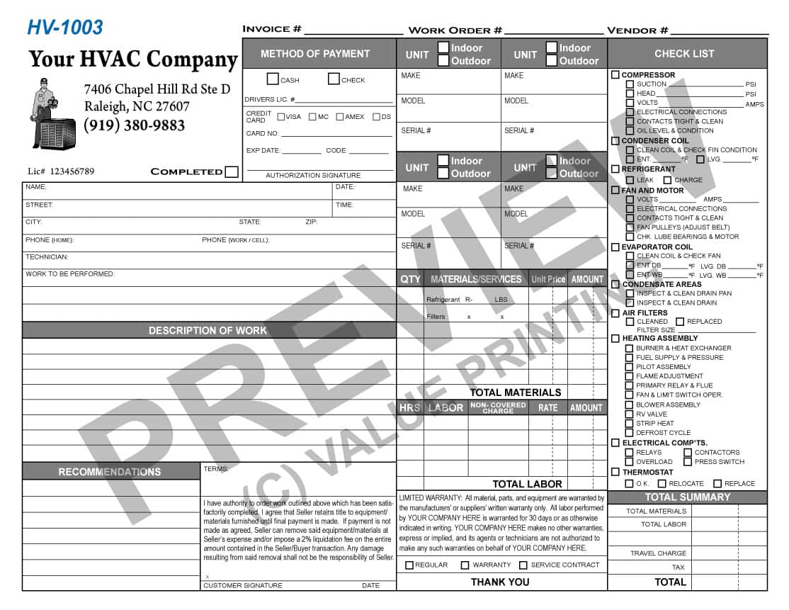 HVAC Work Order Template And HVAC Invoice Template Free Excel