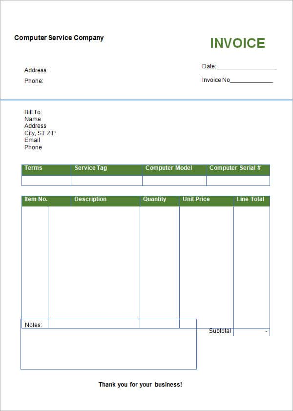 Invoice Template Excel And Free Fill In Invoice Form
