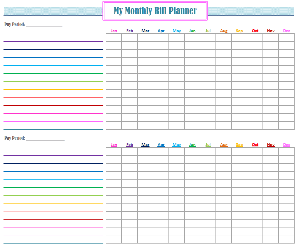 Monthly Bill Template Free And Monthly Bill Organizer Template Excel