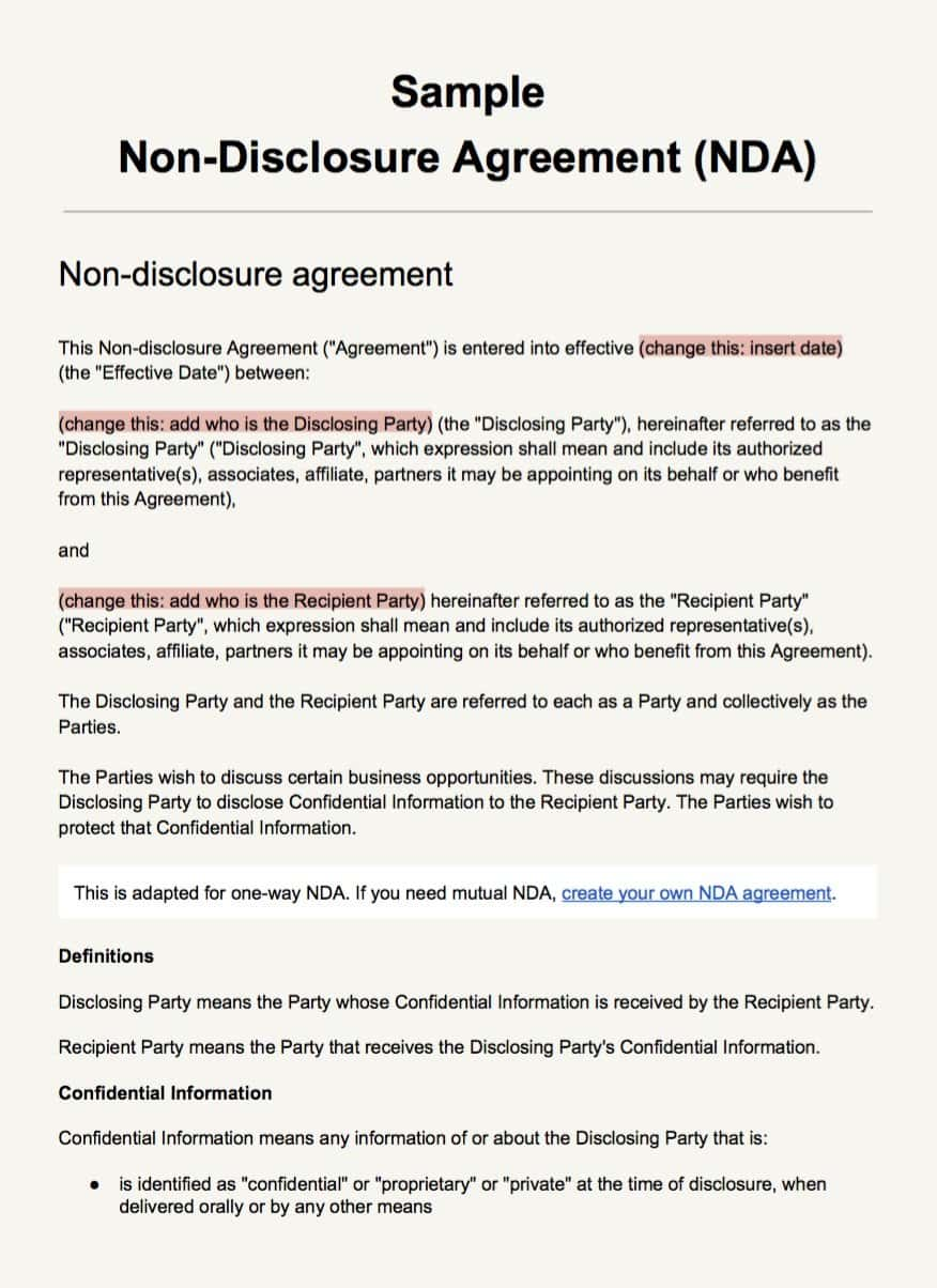 Non Disclosure Agreement Clause Sample And Non Disclosure Agreement Sample Pdf