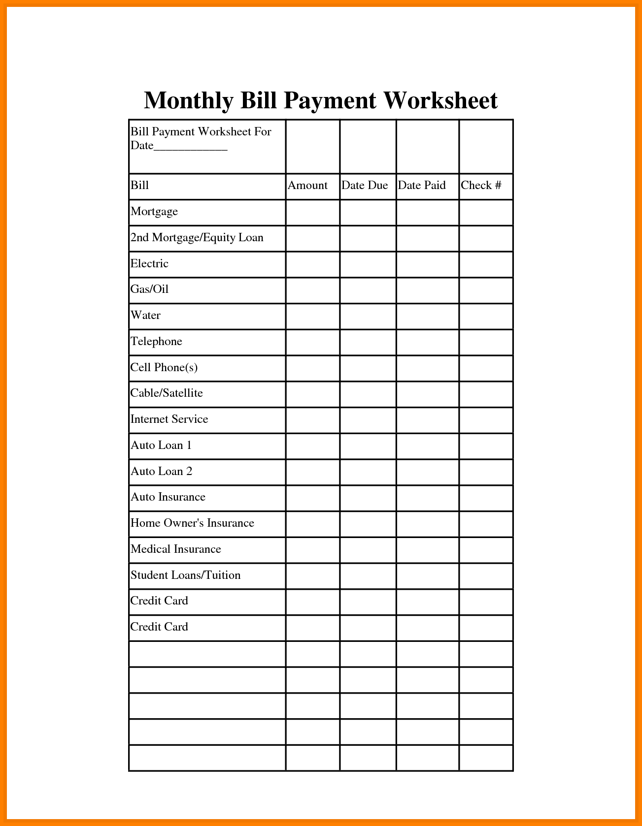 Pay Off Bills Template And Free Printable Bill Payment Schedule