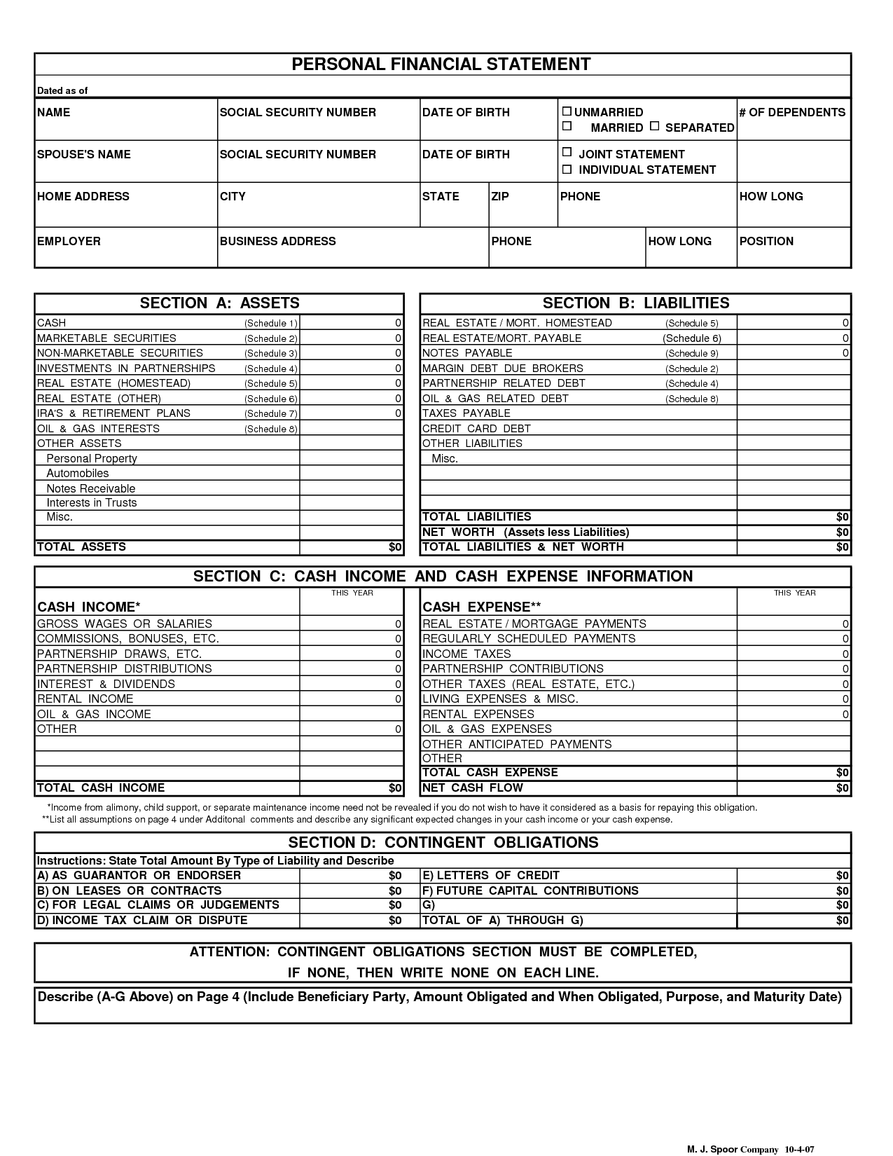 Personal Financial Statement Template Google Docs And Personal Financial Statement Template For Bank