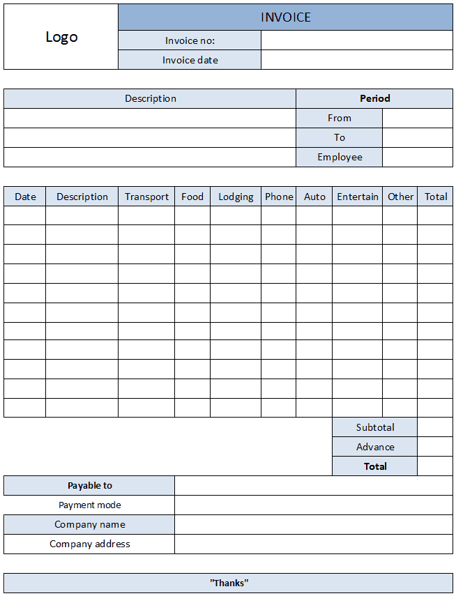 Printable Expense Report And Free Expense Reports