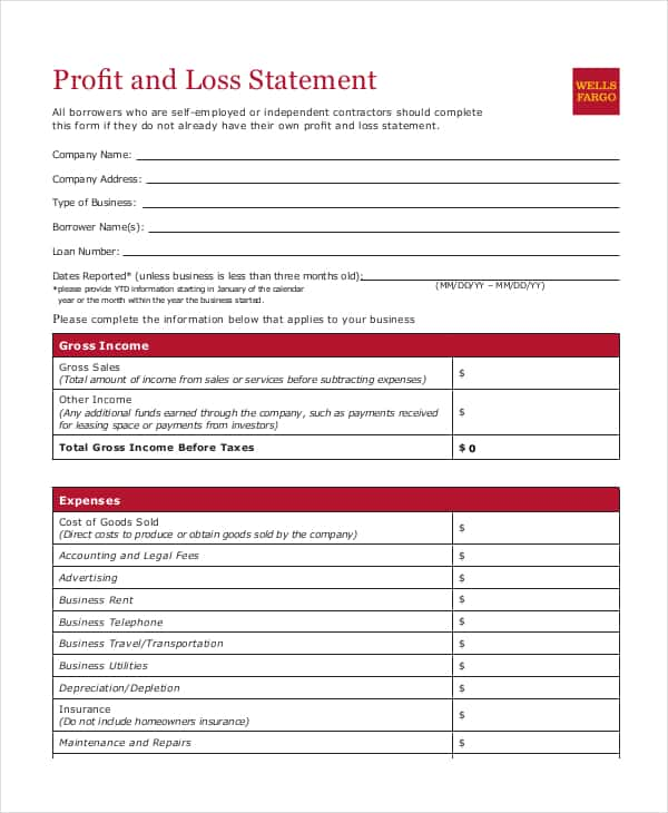 Profit And Loss Statement Template Word And Profit And Loss Statement Template Free Excel