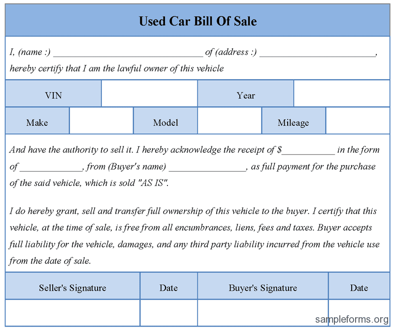 Simple Automobile Bill Of Sale Template And Free Automobile Bill Of Sale Template Pdf