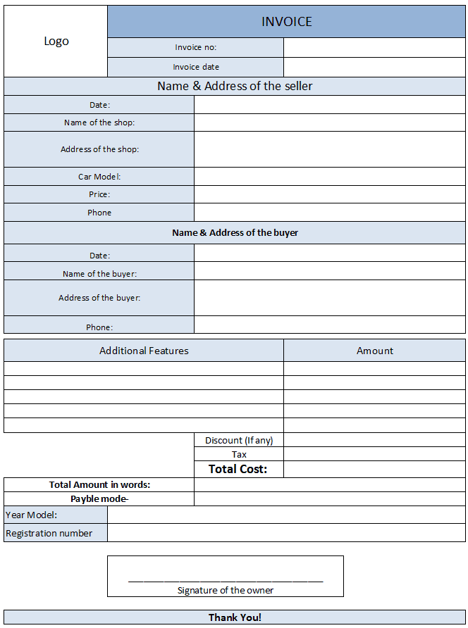 Used Car Invoice Form And Used Car Receipt Template Ontario