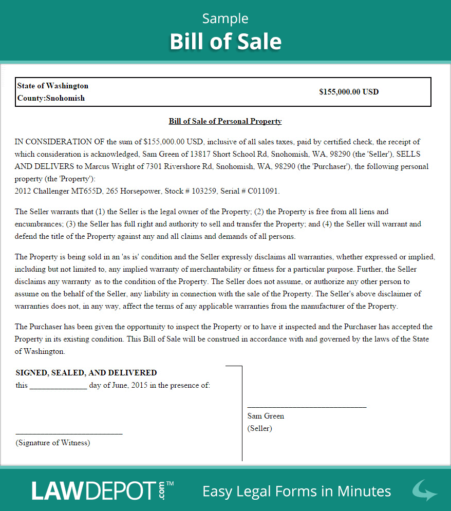 Bill Of Sale Template Pdf And Printable Bill Of Sale