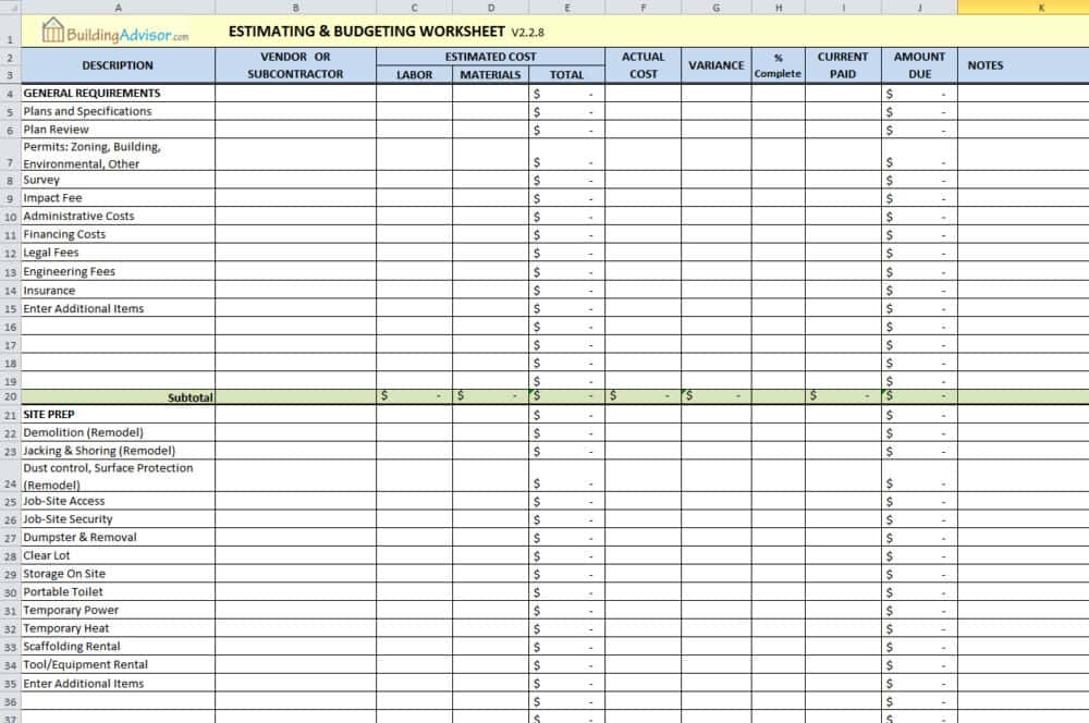 Construction Estimate Template Pdf And Construction Estimate Forms Templates