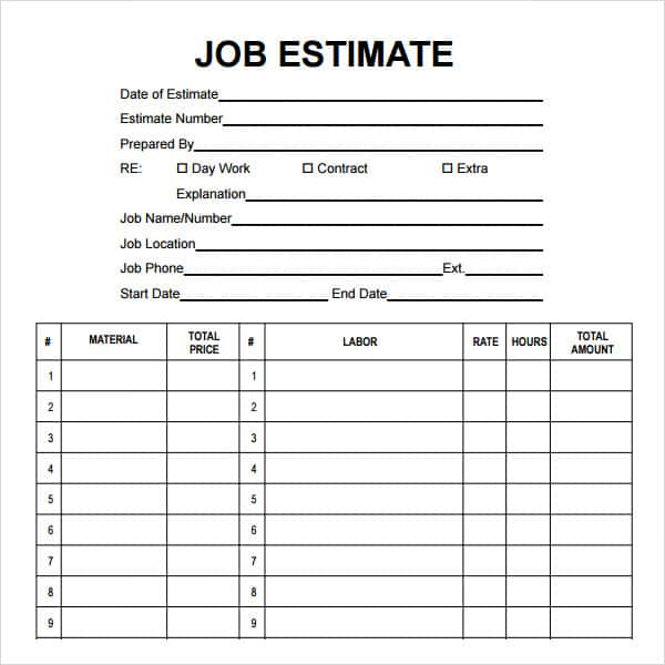 Construction Estimate Template Word And Construction Estimate Form Template Free