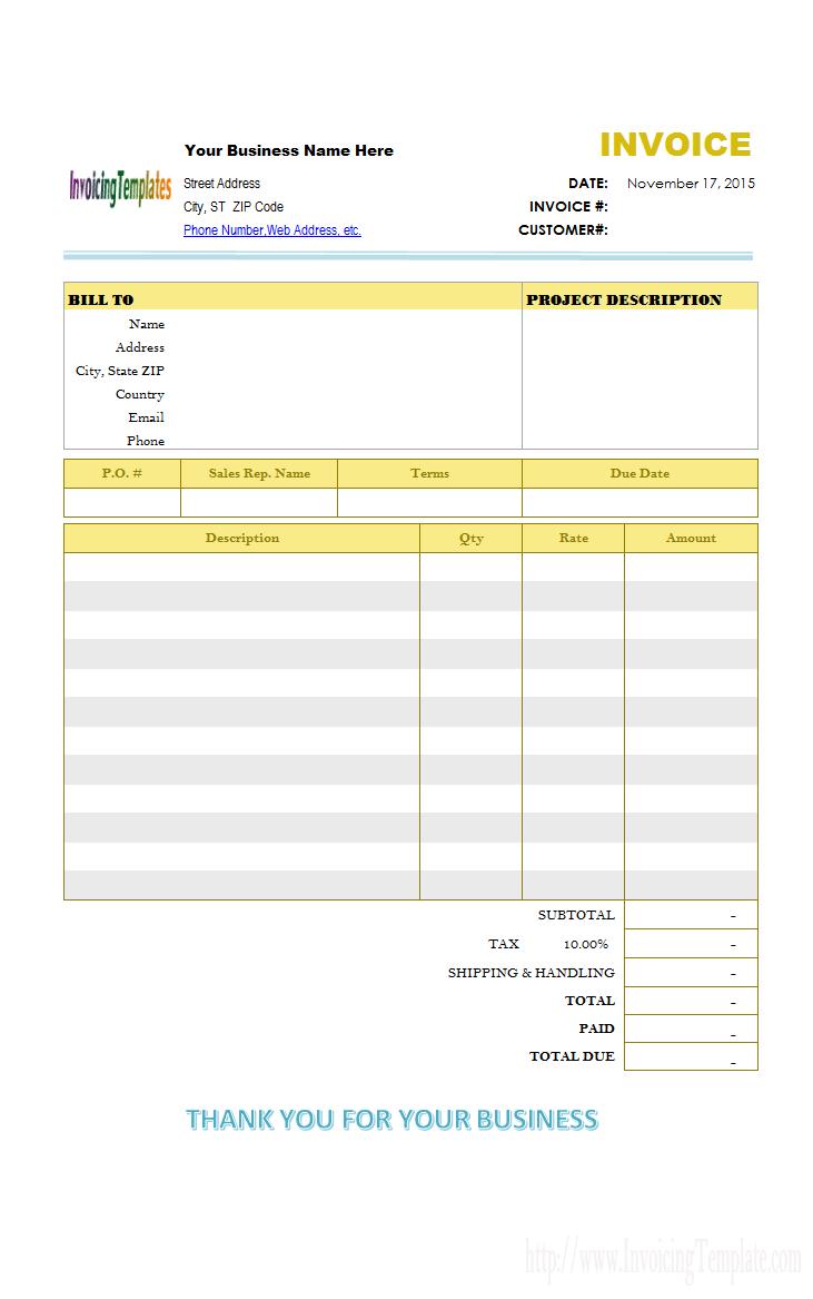 Construction Invoice Template Excel Free And Construction Invoice Template Doc