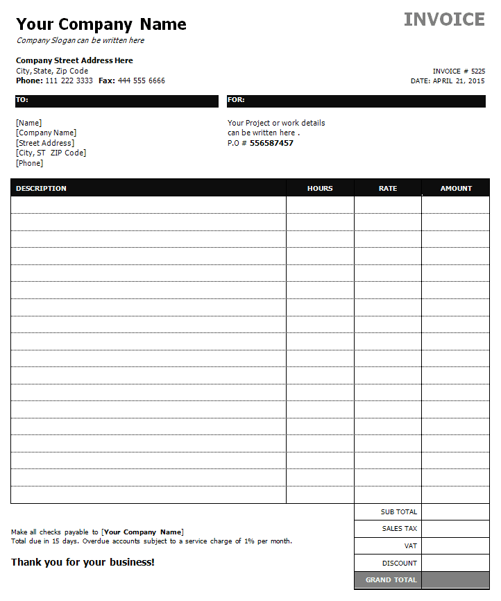 Construction Invoices Template And Construction Invoice Template Excel