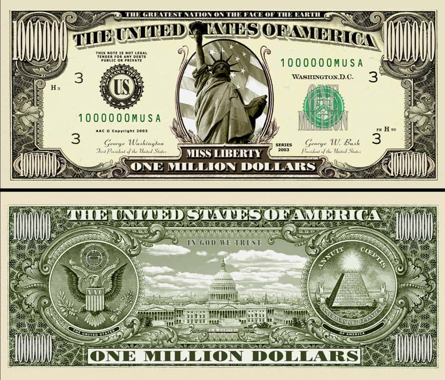 Custom Million Dollar Bill Template And Editable Dollar Bill