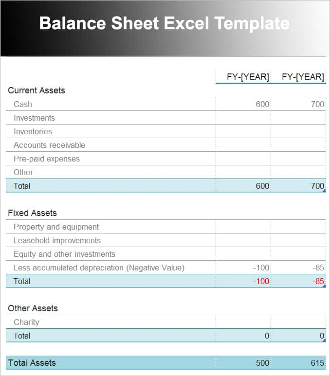 Download Balance Sheet Template And Pro Forma Balance Sheet Template Download