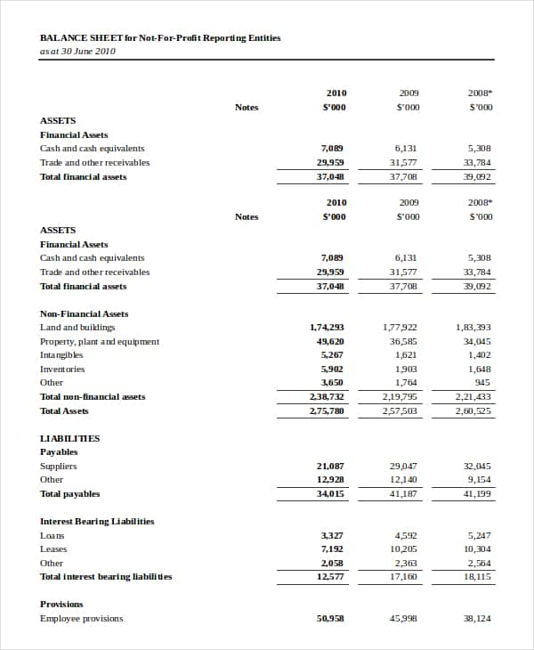 Financial Statement Template For Non Profit Organization And Non Profit Income Statement Excel