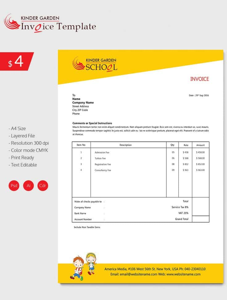 Invoice Template For Graphic Designer Freelance And Invoice Template Interior Designers
