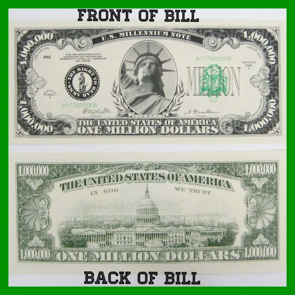 Million Dollar Bill Template And One Million Dollar Bill Printable