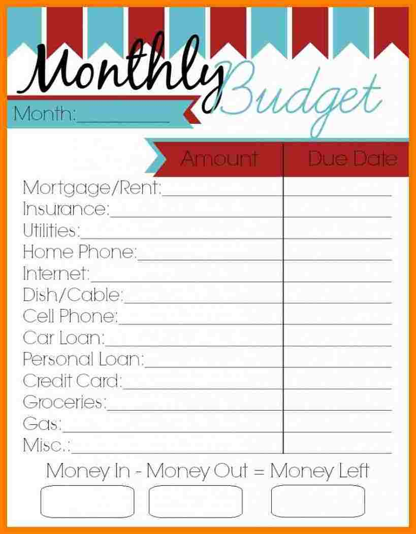 Personal Budget Worksheet And Budgeting Education Handouts