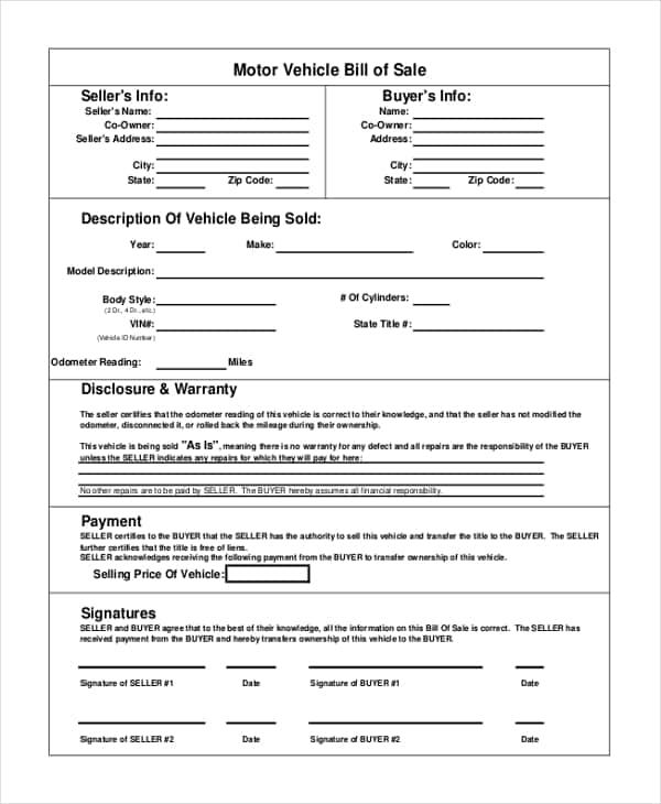Vehicle Bill Of Sale Template Colorado And Free Vehicle Bill Of Sale Template Pdf