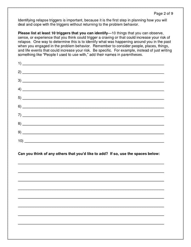 Addiction Recovery Plan Worksheet And Halt Recovery Worksheet
