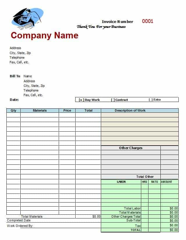 Auto Body Shop Invoice Template And Blank Auto Repair Invoice