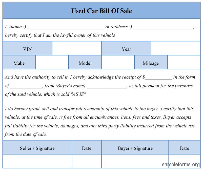 Automobile Bill Of Sale Template Doc And Bill Of Sale Template Pdf