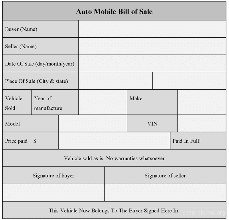 Basic Auto Bill Of Sale Template And Auto Bill Of Sale Simple