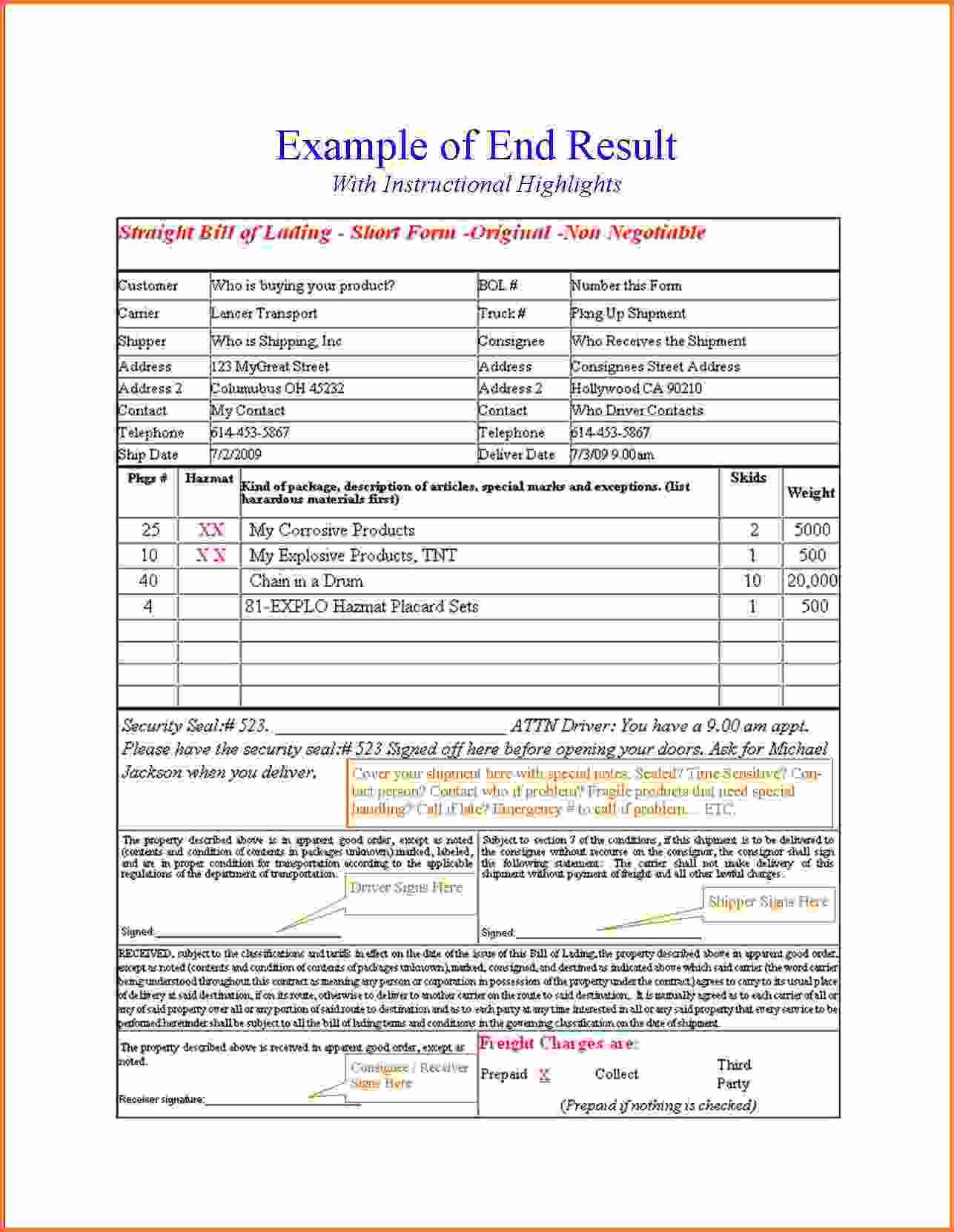 Bill Of Lading Terms And Conditions Pdf And Rated Bill Of Lading