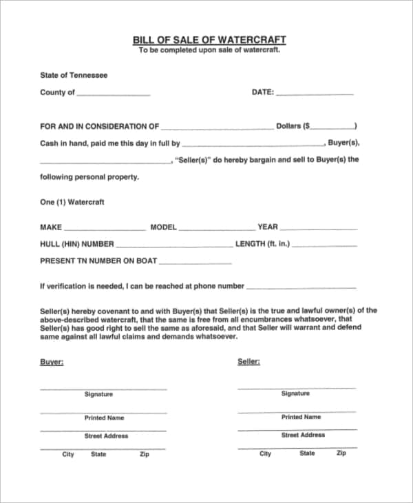 Bill Of Sale Template Boat Free And Used Boat Bill Of Sale Template Ontario