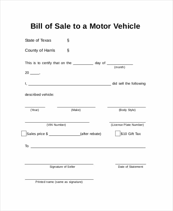 Example Of A Bill Of Sale For A Vehicle And Example Of A Bill Of Sale For Selling A Car