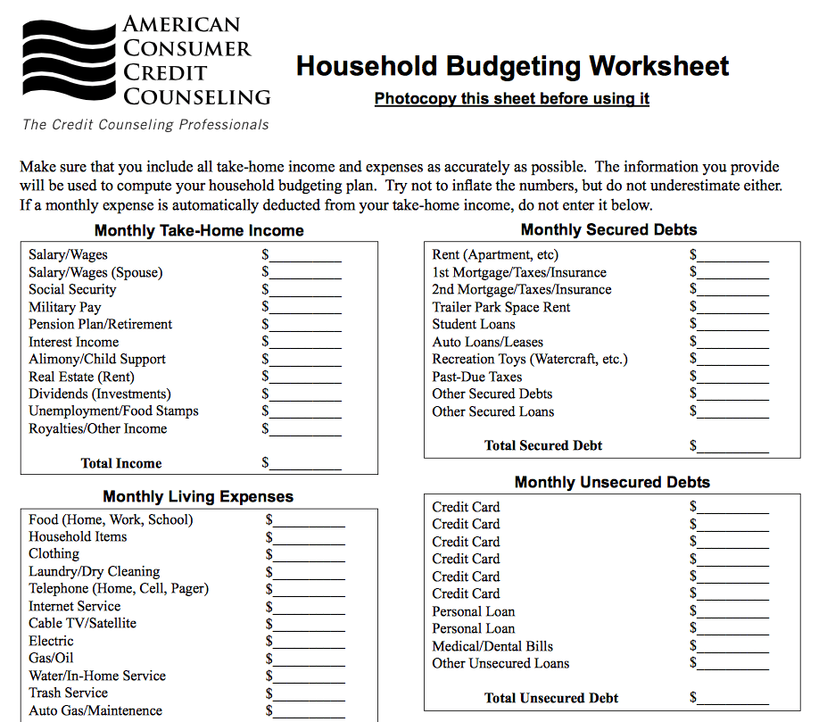 Financial Budget Worksheet Free And Crown Financial Budget Worksheet Excel